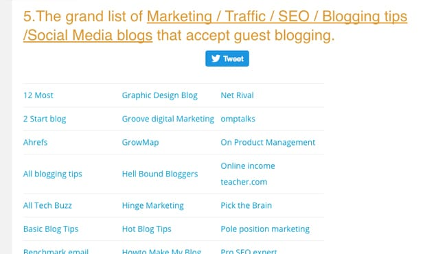 Large List of Sites