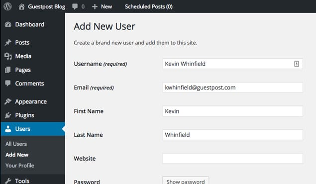 Example Creating User With Email
