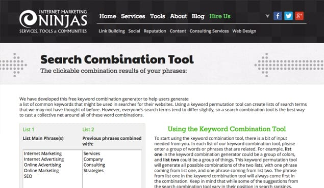 Search Combination Tool