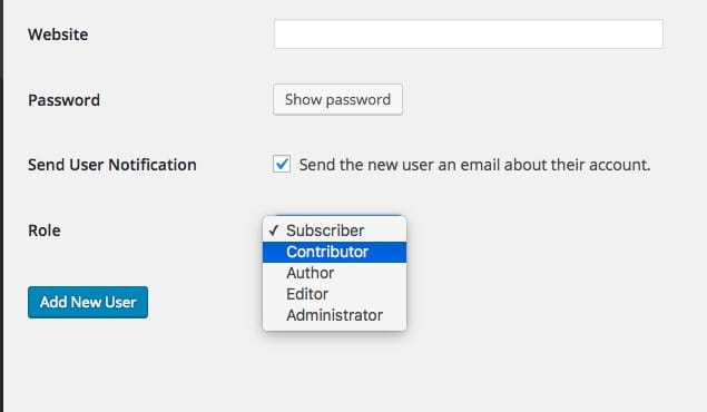 Wordpress Account Roles