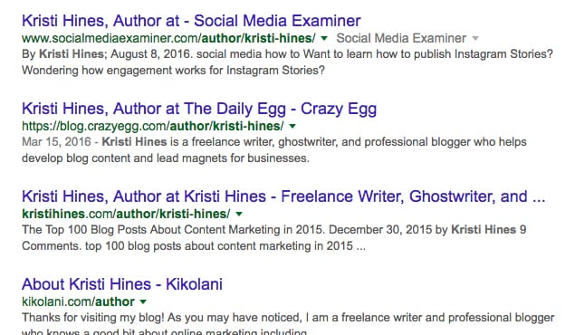 Author on Websites