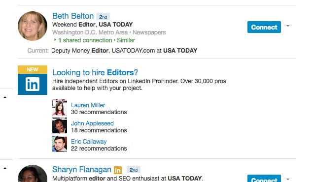 LinkedIn Editor Search Example