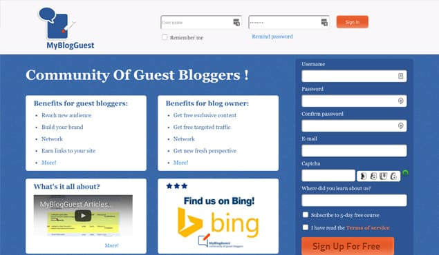 MyBlogGuest Website