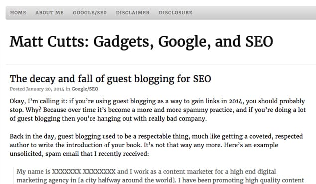 Matt Cutts on Guest Blogging