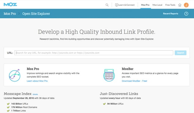 Moz Open Site Explorer Website