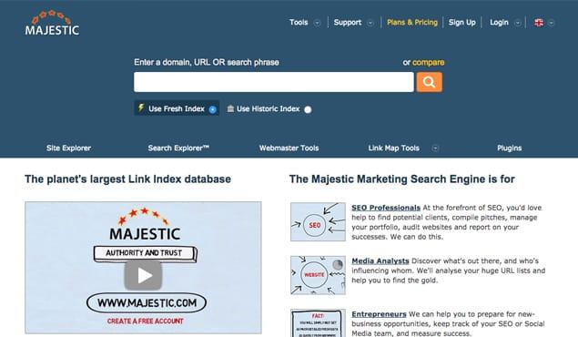 Majestic Homepage