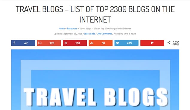 List of Travel Blogs