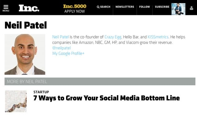 Example Guest Post Profile