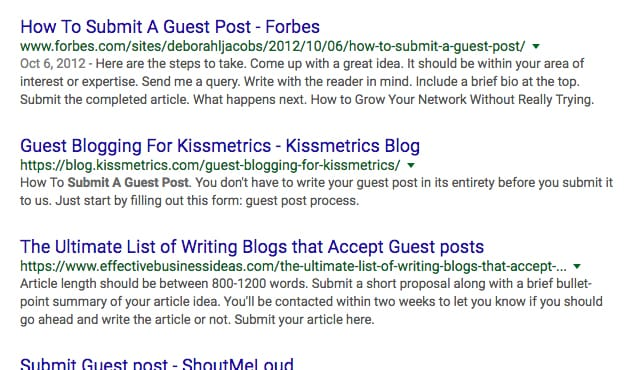 Google Results Example
