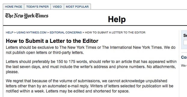 Submit Letter to NY Times