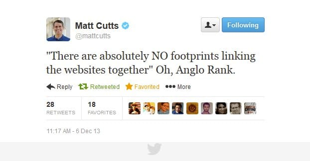 Matt Cutts Twitter Anglo Rank