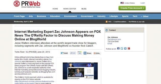 PRweb Press Release Example