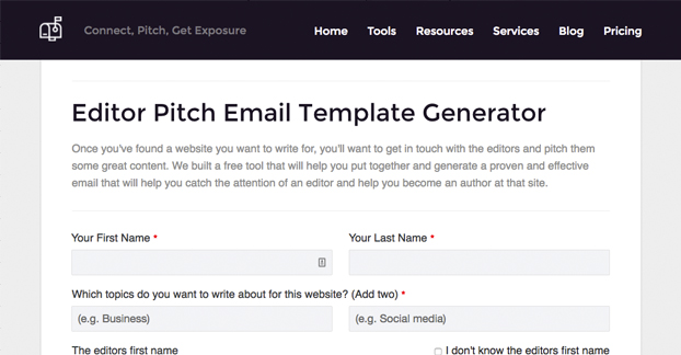 Editor Pitch Template Generator