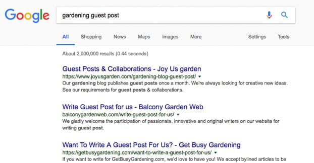 Example Search for Guest Blog Sites