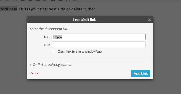 Insert Link WordPress