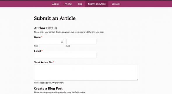 Submit a Post Page