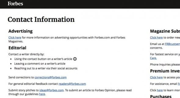 Forbes Contact Info