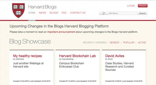 Harvard Blog Screenshot