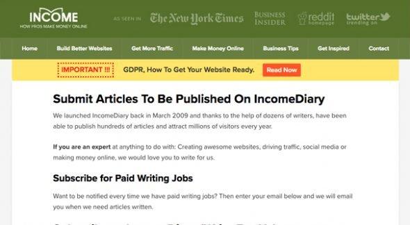 Income Diary Homepage