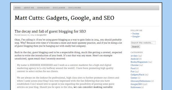 Matt Cutts Guest Blogging Death
