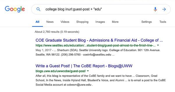 Searching Google for Edu Blogs