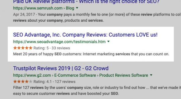 Example Reviews on Google