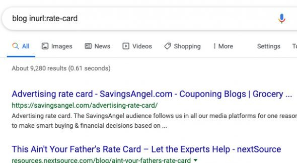 Example Google Search for Rate Cards